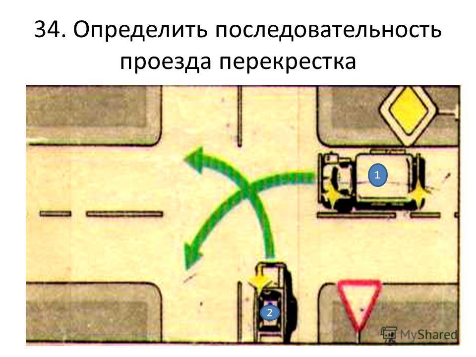 34. Определить последовательность проезда перекрестка 1 2