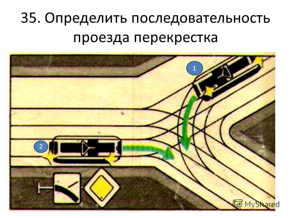 35. Определить последовательность проезда перекрестка 1 2