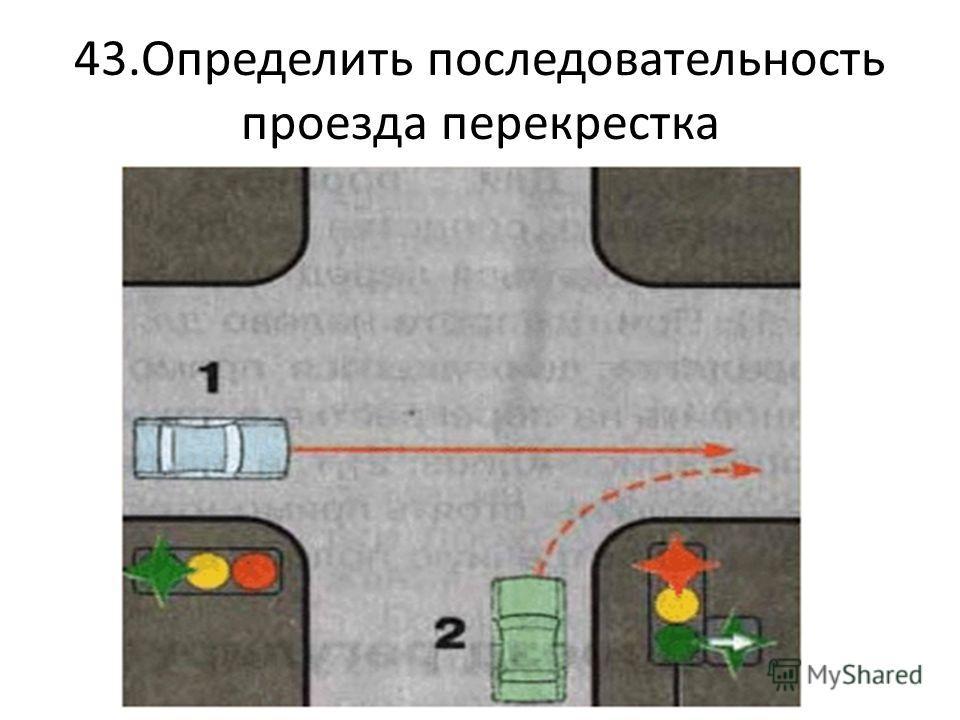 43.Определить последовательность проезда перекрестка