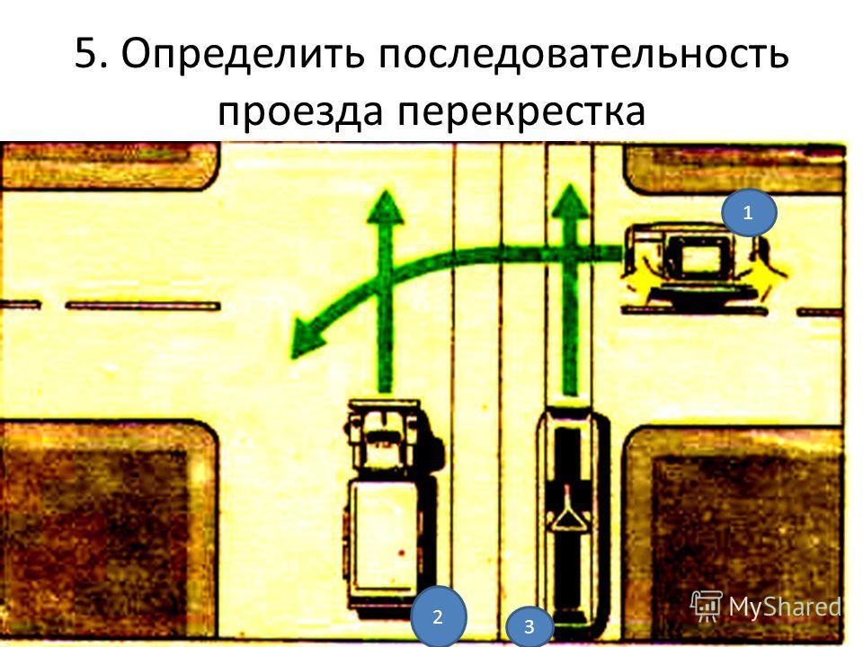 5. Определить последовательность проезда перекрестка 1 2 3
