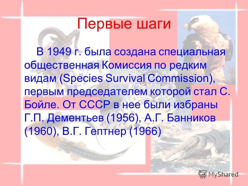 Первые шаги В 1949 г. была создана специальная общественная Комиссия по редким видам (Species Survival Commission), первым председателем которой стал С. Бойле. От СССР в нее были избраны Г.П. Дементьев (1956), А.Г. Банников (1960), В.Г. Гептнер (1966