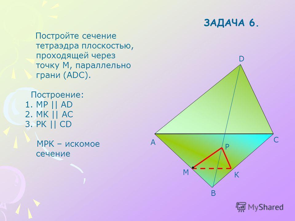 A B C D М Постройте сечение тетраэдра плоскостью, проходящей через точку М, параллельно грани (ADC). Построение: 1.МР || АD 2.МК || АС 3.РК || СD МРК – искомое сечение Р К ЗАДАЧА 6.