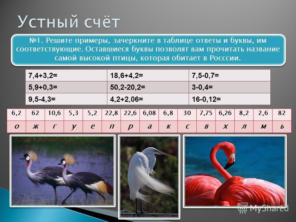 1. Решите примеры, зачеркните в таблице ответы и буквы, им соответствующие. Оставшиеся буквы позволят вам прочитать название самой высокой птицы, которая обитает в Росссии. 7,4+3,2=18,6+4,2=7,5-0,7= 5,9+0,3=50,2-20,2=3-0,4= 9,5-4,3=4,2+2,06=16-0,12=