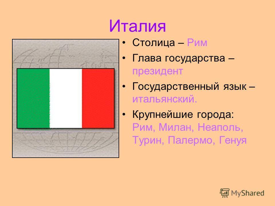 Италия Столица – Рим Глава государства – президент Государственный язык – итальянский. Крупнейшие города: Рим, Милан, Неаполь, Турин, Палермо, Генуя
