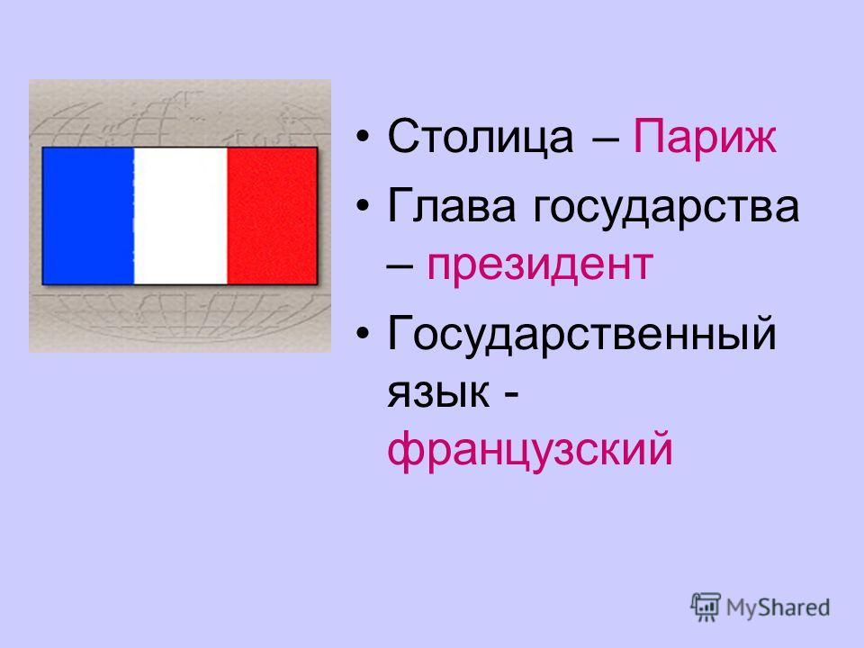 Столица – Париж Глава государства – президент Государственный язык - французский