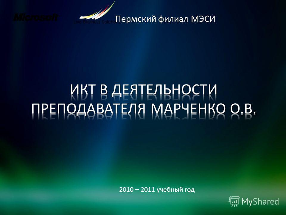 Пермский филиал МЭСИ 2010 – 2011 учебный год