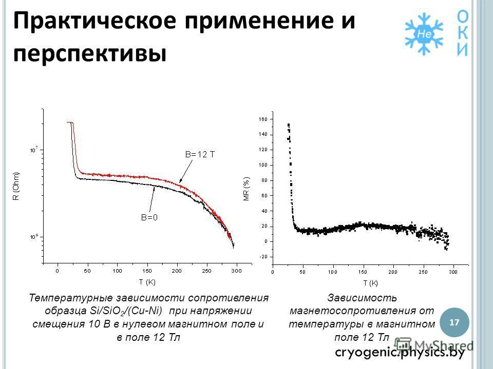 Практическое применение и перспективы cryogenic.physics.by 17 Температурные зависимости сопротивления образца Si/SiO 2 /(Cu-Ni) при напряжении смещения 10 В в нулевом магнитном поле и в поле 12 Тл Зависимость магнетосопротивления от температуры в маг