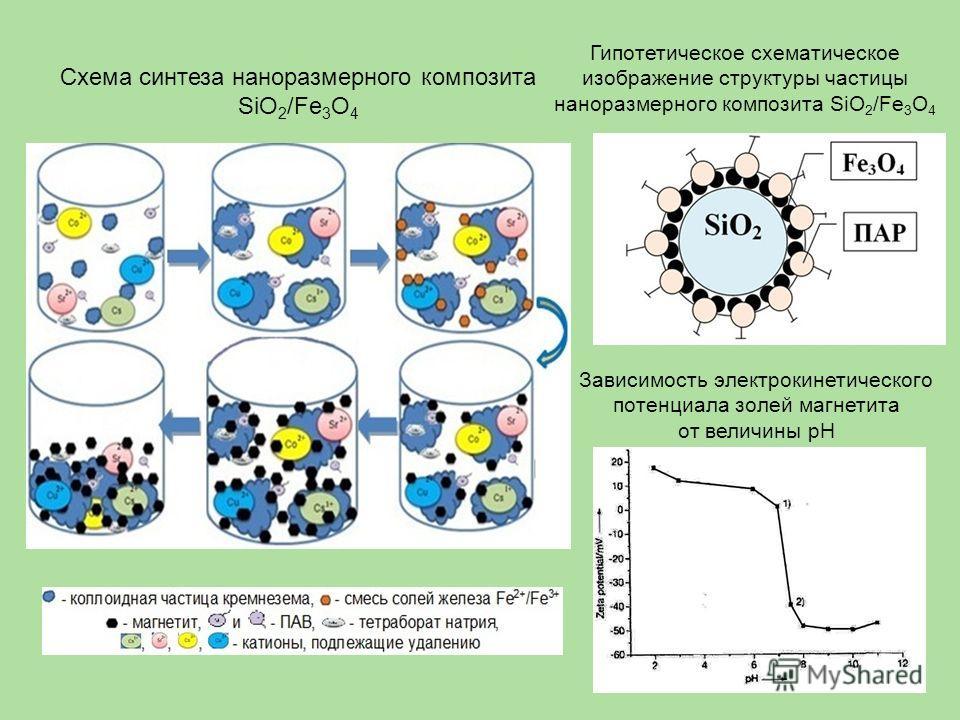 Схема синтеза наноразмерного композита SiO 2 /Fe 3 O 4 Гипотетическое схематическое изображение структуры частицы наноразмерного композита SiO 2 /Fe 3 O 4 Зависимость электрокинетического потенциала золей магнетита от величины рН
