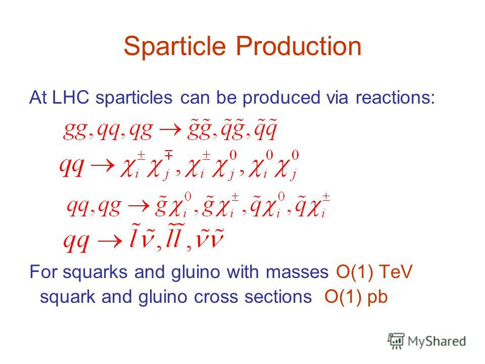 Sparticle Production At LHC sparticles can be produced via reactions: For squarks and gluino with masses O(1) TeV squark and gluino cross sections O(1) pb