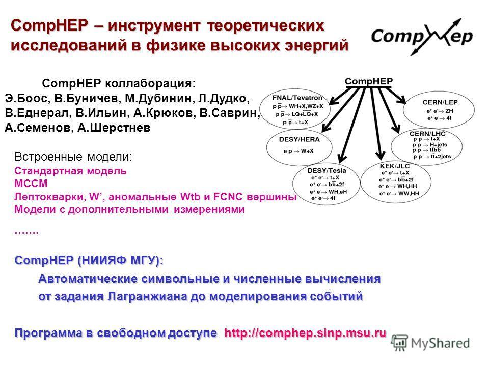 CompHEP (НИИЯФ МГУ): Автоматические символьные и численные вычисления Автоматические символьные и численные вычисления от задания Лагранжиана до моделирования событий от задания Лагранжиана до моделирования событий Программа в свободном доступе http: