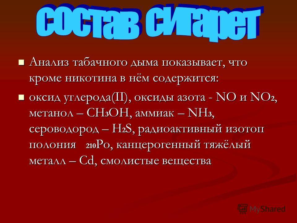 Анализ табачного дыма показывает, что кроме никотина в нём содержится: Анализ табачного дыма показывает, что кроме никотина в нём содержится: оксид углерода(II), оксиды азота - NО и NО 2, метанол – СН 3 ОН, аммиак – NН 3, сероводород – Н 2 S, радиоак