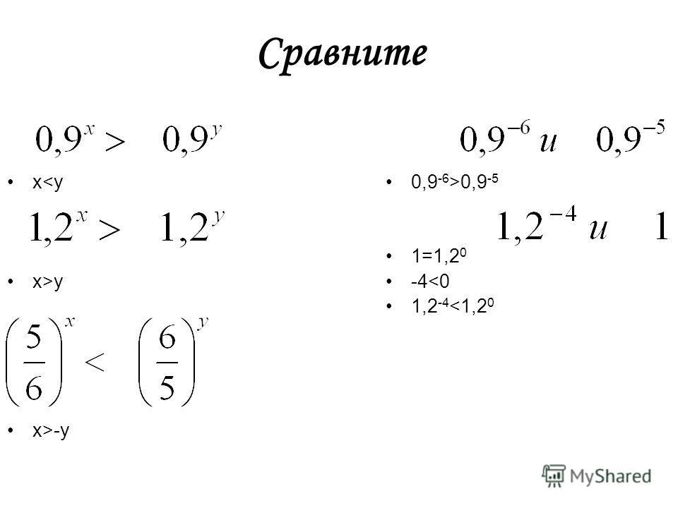 Сравните хy x>-y 0,9 -6 >0,9 -5 1=1,2 0 -4