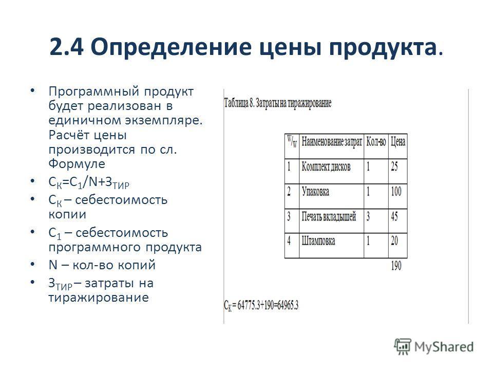 2.4 Определение цены продукта. Программный продукт будет реализован в единичном экземпляре. Расчёт цены производится по сл. Формуле С К =С 1 /N+З ТИР С К – себестоимость копии С 1 – себестоимость программного продукта N – кол-во копий З ТИР – затраты