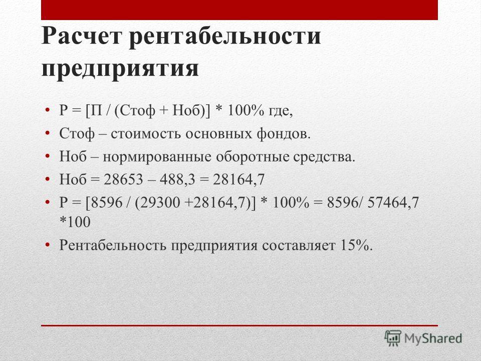 Расчет рентабельности предприятия Р = [П / (Стоф + Ноб)] * 100% где, Стоф – стоимость основных фондов. Ноб – нормированные оборотные средства. Ноб = 28653 – 488,3 = 28164,7 Р = [8596 / (29300 +28164,7)] * 100% = 8596/ 57464,7 *100 Рентабельность пред