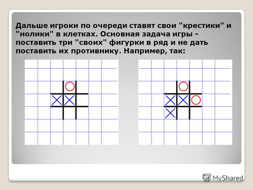 Дальше игроки по очереди ставят свои крестики и нолики в клетках. Основная задача игры - поставить три своих фигурки в ряд и не дать поставить их противнику. Например, так: