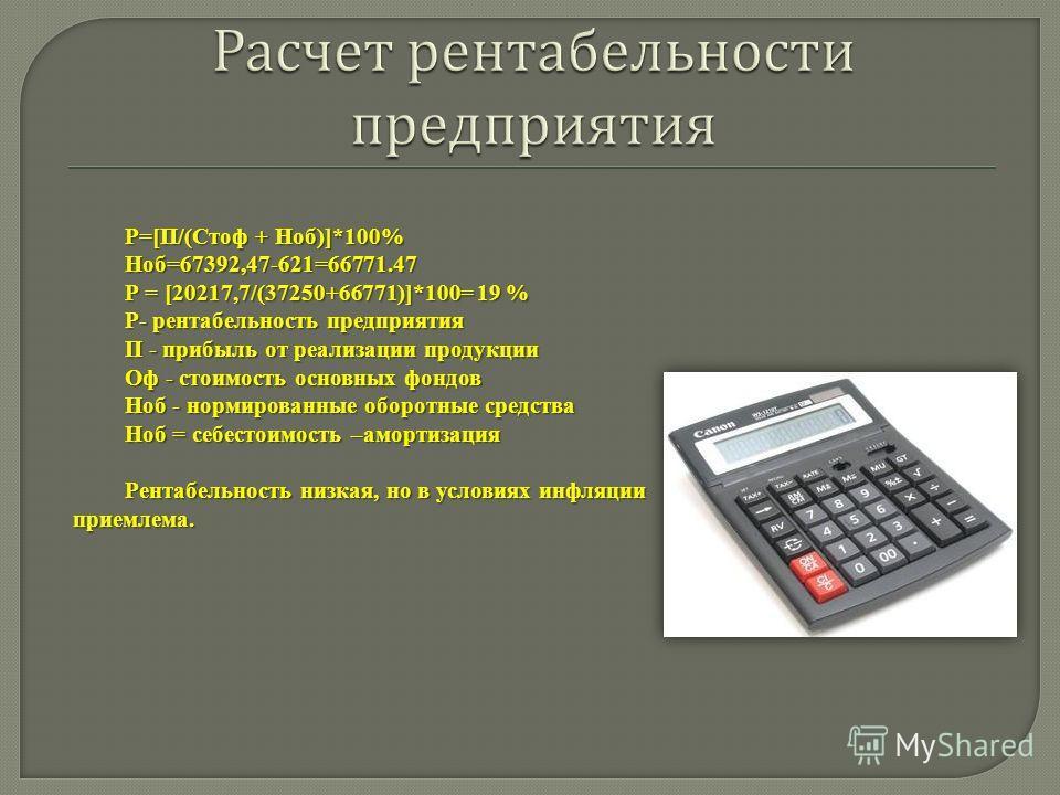 Р=[П/(Стоф + Ноб)]*100% Ноб=67392,47-621=66771.47 Р = [20217,7/(37250+66771)]*100= 19 % Р- рентабельность предприятия П - прибыль от реализации продукции Оф - стоимость основных фондов Ноб - нормированные оборотные средства Ноб = себестоимость –аморт
