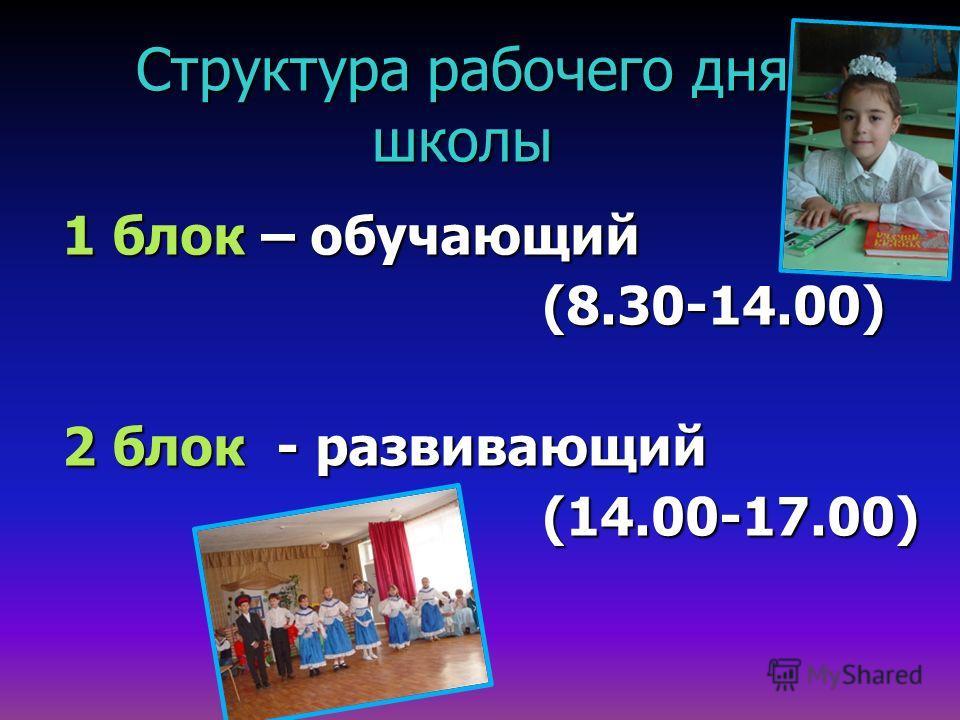 Структура рабочего дня школы 1 блок – обучающий (8.30-14.00) 2 блок - развивающий (14.00-17.00)