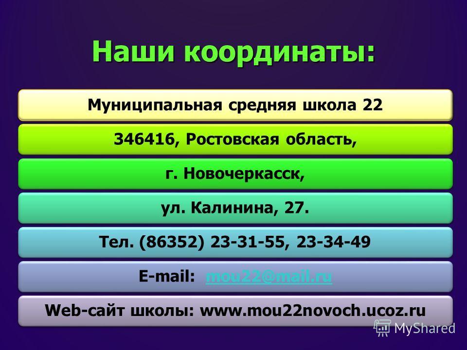 Наши координаты: Муниципальная средняя школа 22346416, Ростовская область,г. Новочеркасск,ул. Калинина, 27.Тел. (86352) 23-31-55, 23-34-49E-mail: mou22@mail.rumou22@mail.ruWeb-сайт школы: www.mou22novoch.ucoz.ru