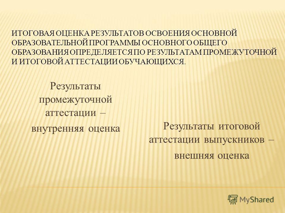 ИТОГОВАЯ ОЦЕНКА РЕЗУЛЬТАТОВ ОСВОЕНИЯ ОСНОВНОЙ ОБРАЗОВАТЕЛЬНОЙ ПРОГРАММЫ ОСНОВНОГО ОБЩЕГО ОБРАЗОВАНИЯ ОПРЕДЕЛЯЕТСЯ ПО РЕЗУЛЬТАТАМ ПРОМЕЖУТОЧНОЙ И ИТОГОВОЙ АТТЕСТАЦИИ ОБУЧАЮЩИХСЯ. Результаты промежуточной аттестации – внутренняя оценка Результаты итого