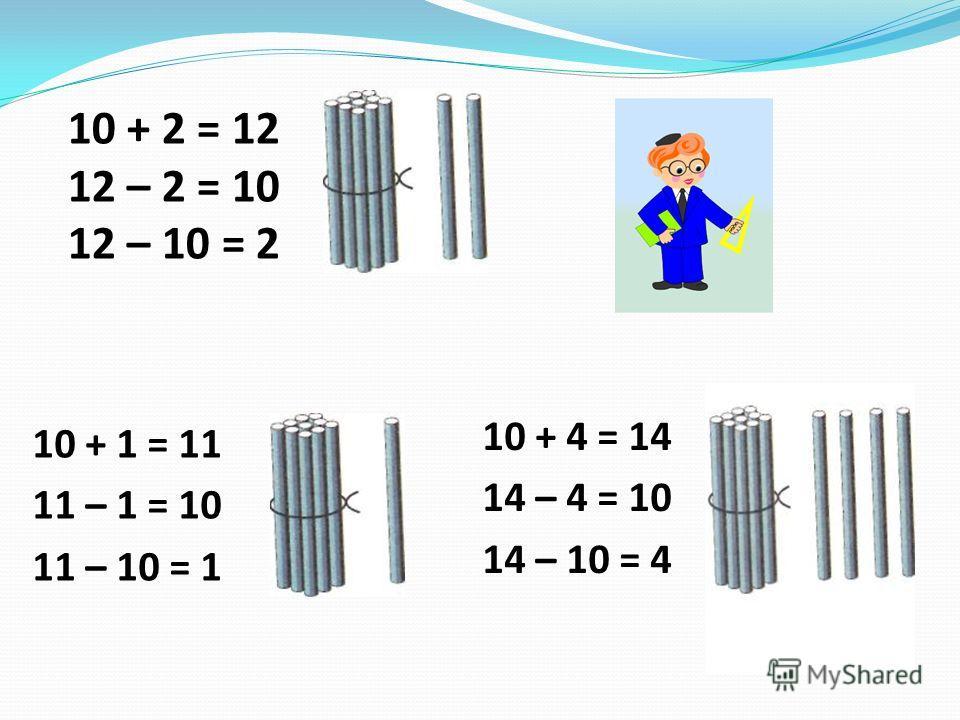 10 + 2 = 12 12 – 2 = 10 12 – 10 = 2 10 + 1 = 11 11 – 1 = 10 11 – 10 = 1 10 + 4 = 14 14 – 4 = 10 14 – 10 = 4
