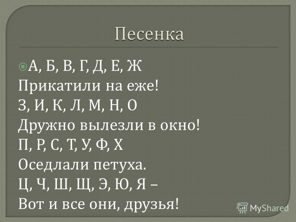 А, Б, В, Г, Д, Е, Ж Прикатили на еже ! З, И, К, Л, М, Н, О Дружно вылезли в окно ! П, Р, С, Т, У, Ф, Х Оседлали петуха. Ц, Ч, Ш, Щ, Э, Ю, Я – Вот и все они, друзья !