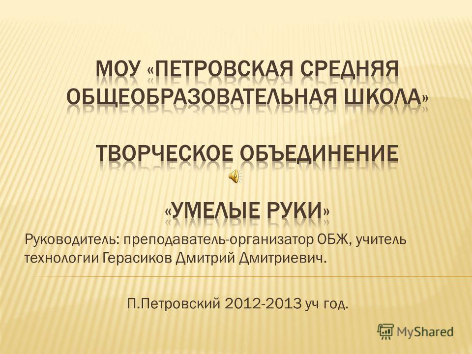 Руководитель: преподаватель-организатор ОБЖ, учитель технологии Герасиков Дмитрий Дмитриевич. П.Петровский 2012-2013 уч год.