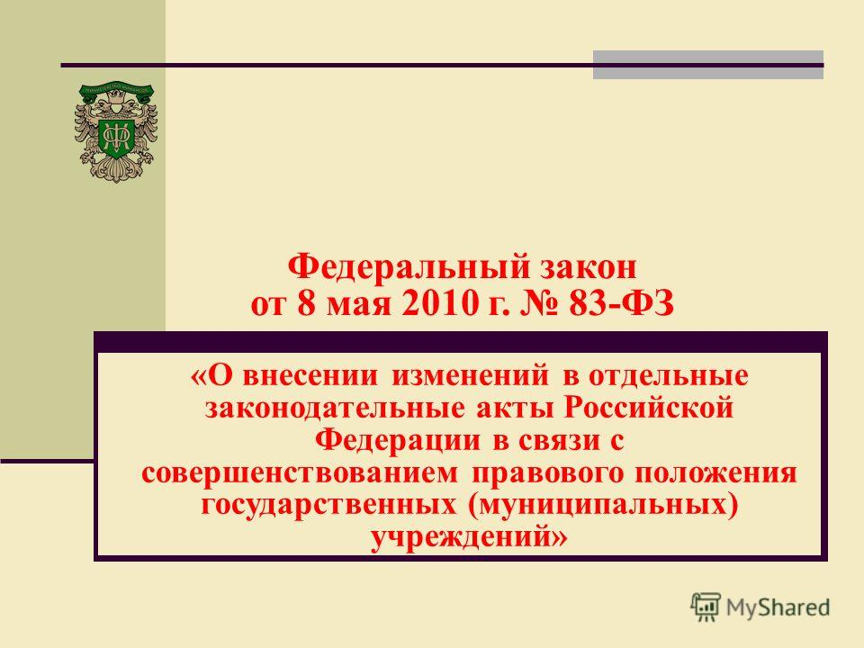 Федеральный закон от 8 мая 2010 г. 83-ФЗ «О внесении изменений в отдельные законодательные акты Российской Федерации в связи с совершенствованием правового положения государственных (муниципальных) учреждений»