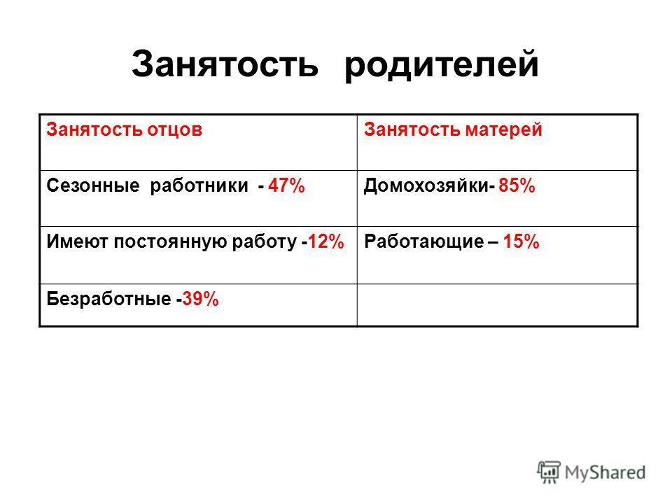 Занятость родителей Занятость отцовЗанятость матерей Сезонные работники - 47%Домохозяйки- 85% Имеют постоянную работу -12%Работающие – 15% Безработные -39%