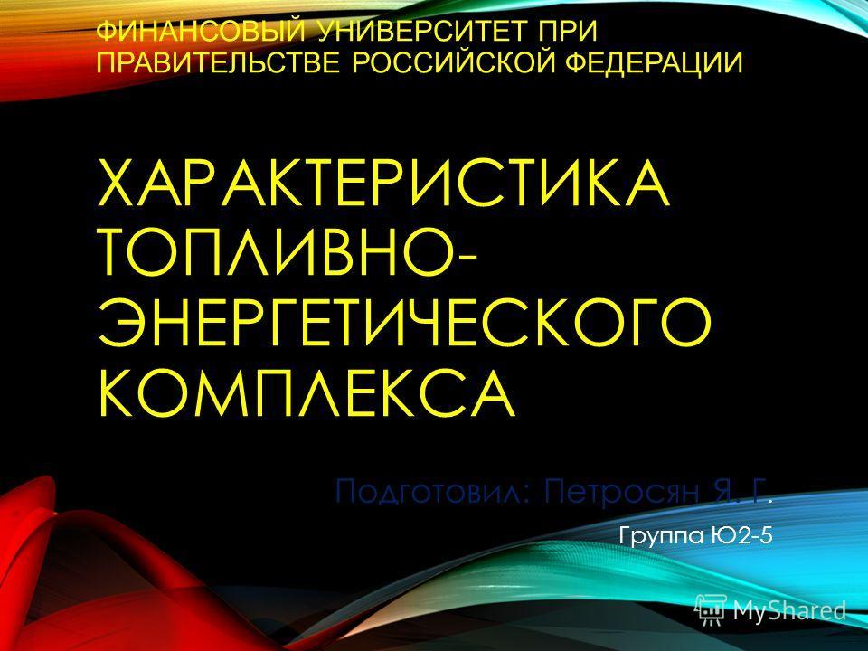 ФИНАНСОВЫЙ УНИВЕРСИТЕТ ПРИ ПРАВИТЕЛЬСТВЕ РОССИЙСКОЙ ФЕДЕРАЦИИ ХАРАКТЕРИСТИКА ТОПЛИВНО- ЭНЕРГЕТИЧЕСКОГО КОМПЛЕКСА Подготовил: Петросян Я. Г. Группа Ю2-5