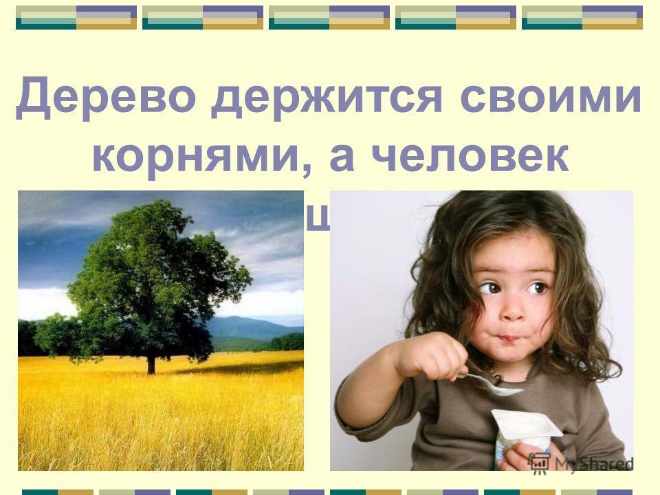 Дерево держится своими корнями, а человек пищей.