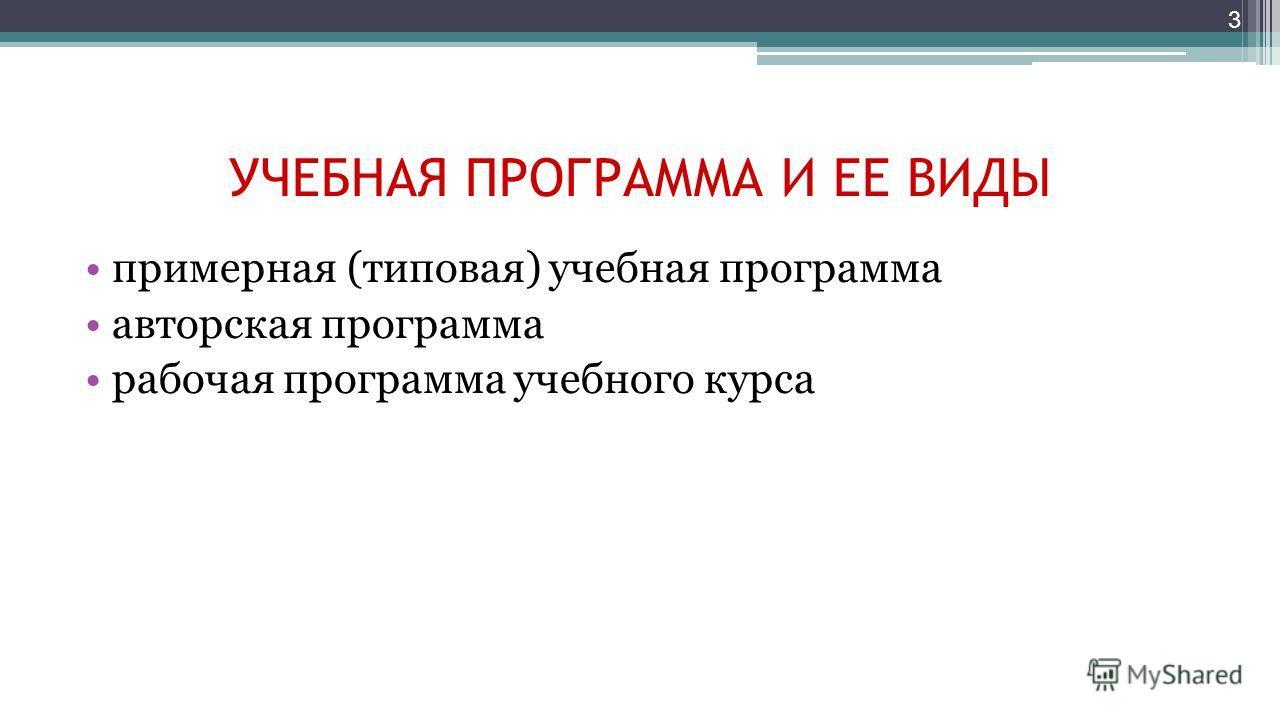 УЧЕБНАЯ ПРОГРАММА И ЕЕ ВИДЫ примерная (типовая) учебная программа авторская программа рабочая программа учебного курса 3