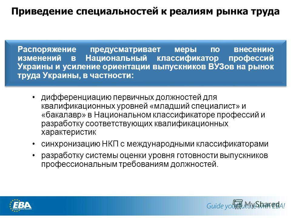 Приведение специальностей к реалиям рынка труда Распоряжение предусматривает меры по внесению изменений в Национальный классификатор профессий Украины и усиление ориентации выпускников ВУЗов на рынок труда Украины, в частности: дифференциацию первичн