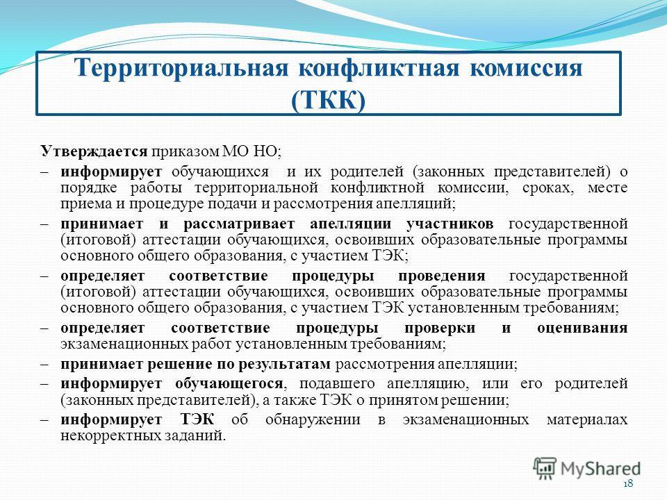 18 Территориальная конфликтная комиссия (ТКК) Утверждается приказом МО НО; – информирует обучающихся и их родителей (законных представителей) о порядке работы территориальной конфликтной комиссии, сроках, месте приема и процедуре подачи и рассмотрени