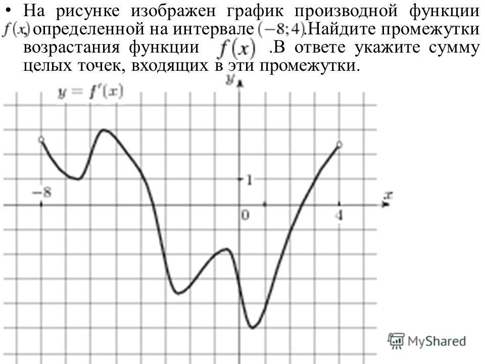 На рисунке изображен график производной функции, определенной на интервале.Найдите промежутки возрастания функции.В ответе укажите сумму целых точек, входящих в эти промежутки.