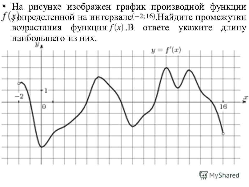 На рисунке изображен график производной функции, определенной на интервале.Найдите промежутки возрастания функции.В ответе укажите длину наибольшего из них.