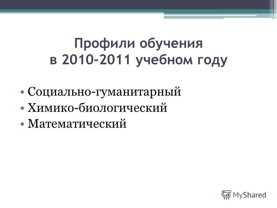 Профили обучения в 2010-2011 учебном году Социально-гуманитарный Химико-биологический Математический