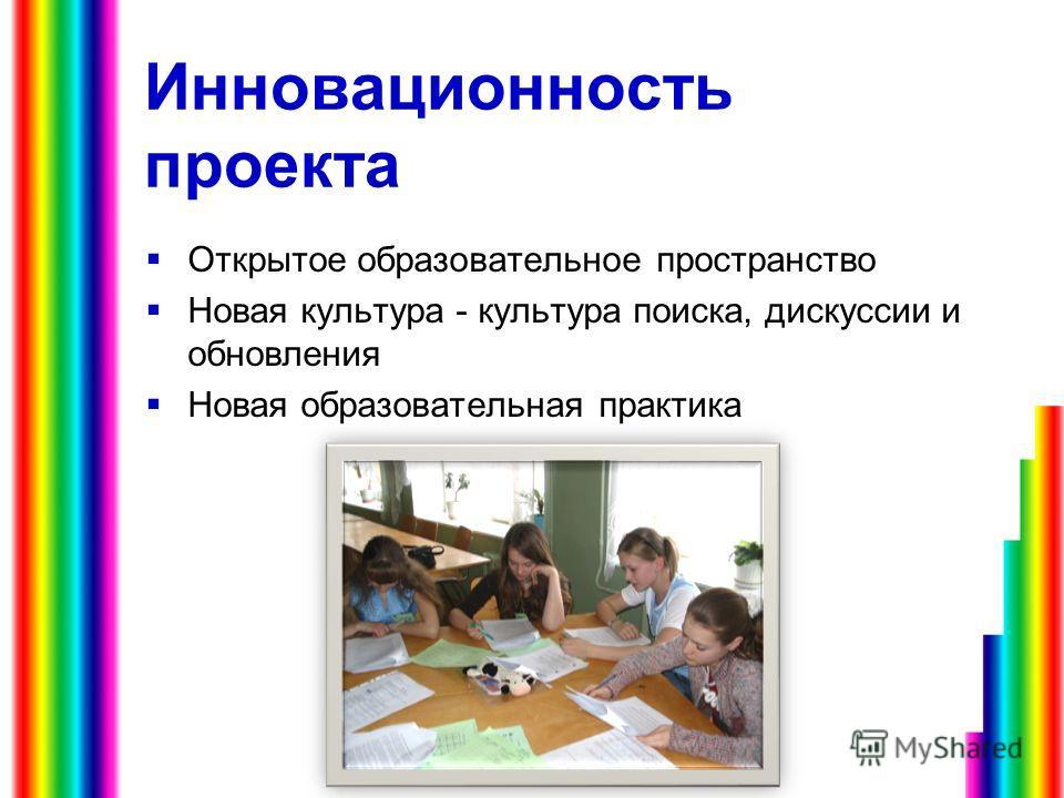 Инновационность проекта Открытое образовательное пространство Новая культура - культура поиска, дискуссии и обновления Новая образовательная практика