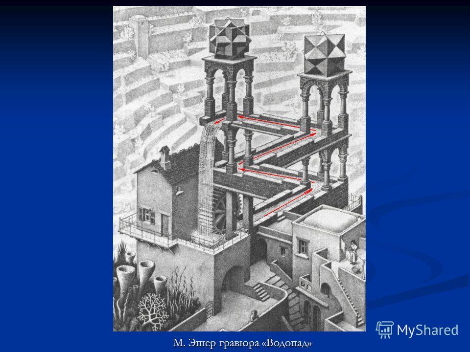 М. Эшер гравюра «Водопад»