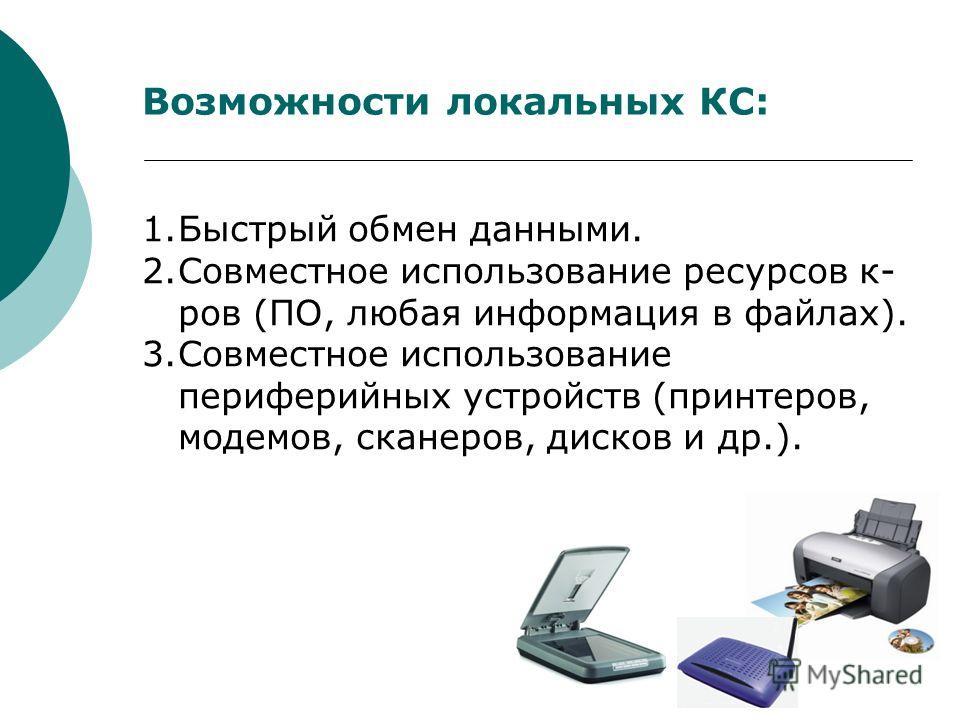 Возможности локальных КС: 1.Быстрый обмен данными. 2.Совместное использование ресурсов к- ров (ПО, любая информация в файлах). 3.Совместное использование периферийных устройств (принтеров, модемов, сканеров, дисков и др.).