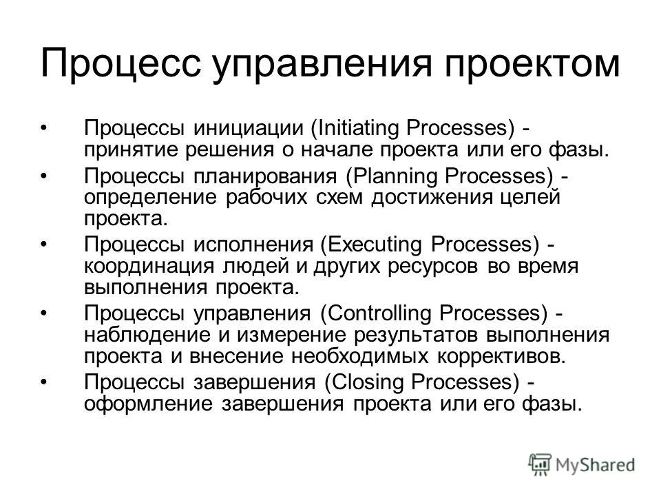 Процесс управления проектом Процессы инициации (Initiating Processes) - принятие решения о начале проекта или его фазы. Процессы планирования (Planning Processes) - определение рабочих схем достижения целей проекта. Процессы исполнения (Executing Pro