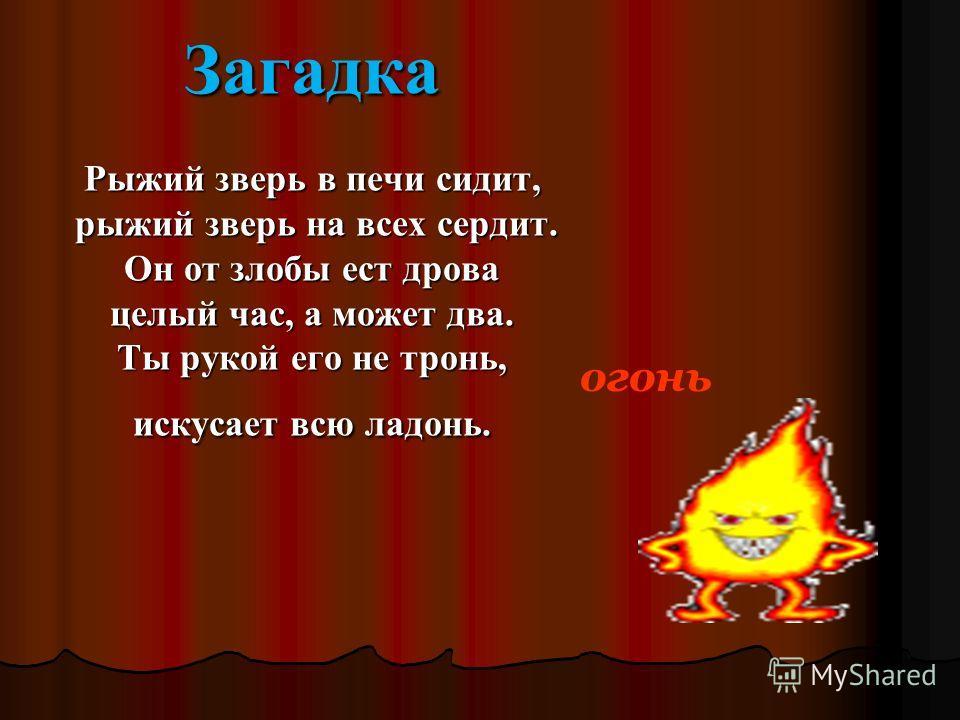 огонь Загадка Рыжий зверь в печи сидит, рыжий зверь на всех сердит. Он от злобы ест дрова целый час, а может два. Ты рукой его не тронь, искусает всю ладонь.