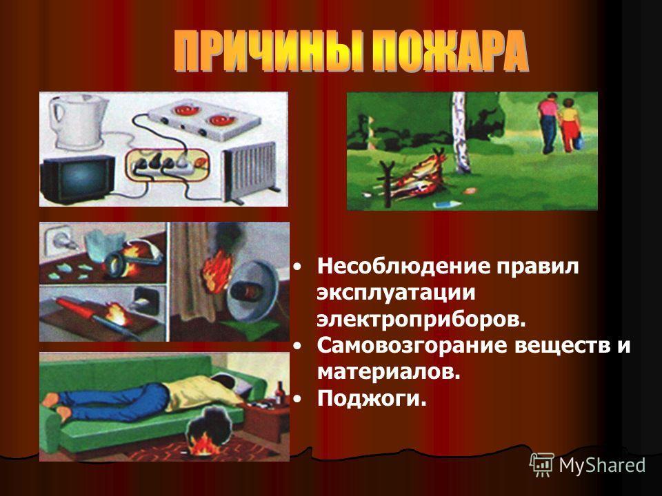 Несоблюдение правил эксплуатации электроприборов. Самовозгорание веществ и материалов. Поджоги.