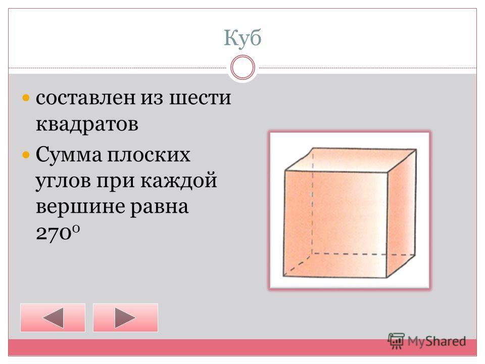 Куб составлен из шести квадратов Сумма плоских углов при каждой вершине равна 270 0