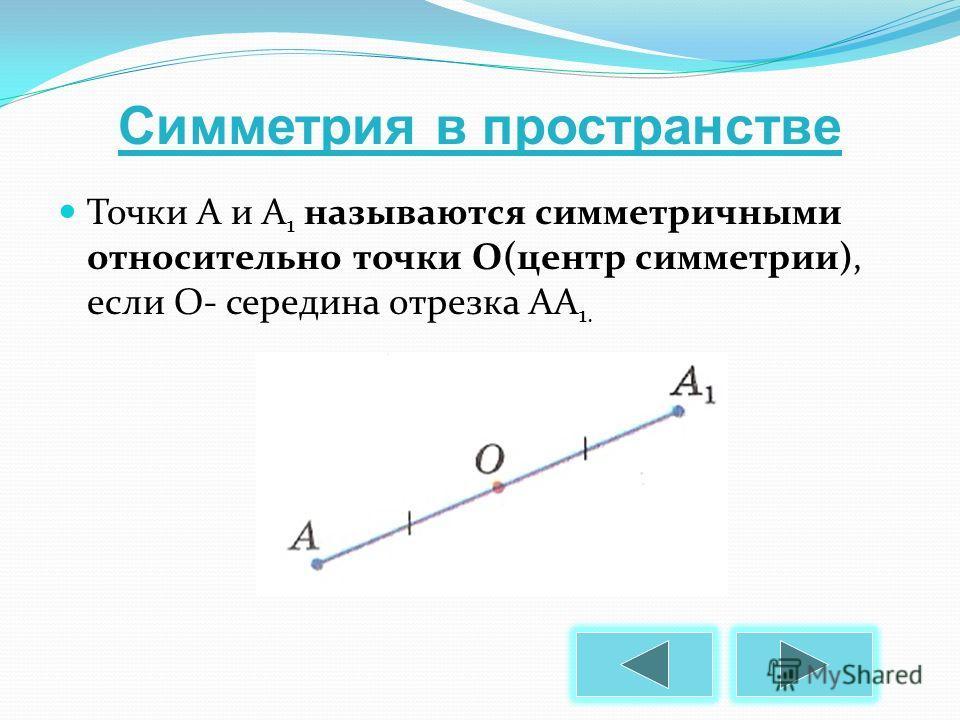 Точки А и А 1 называются симметричными относительно точки О(центр симметрии), если О- середина отрезка АА 1. Симметрия в пространстве