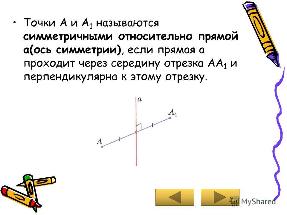 Точки А и А 1 называются симметричными относительно прямой а(ось симметрии), если прямая а проходит через середину отрезка АА 1 и перпендикулярна к этому отрезку.