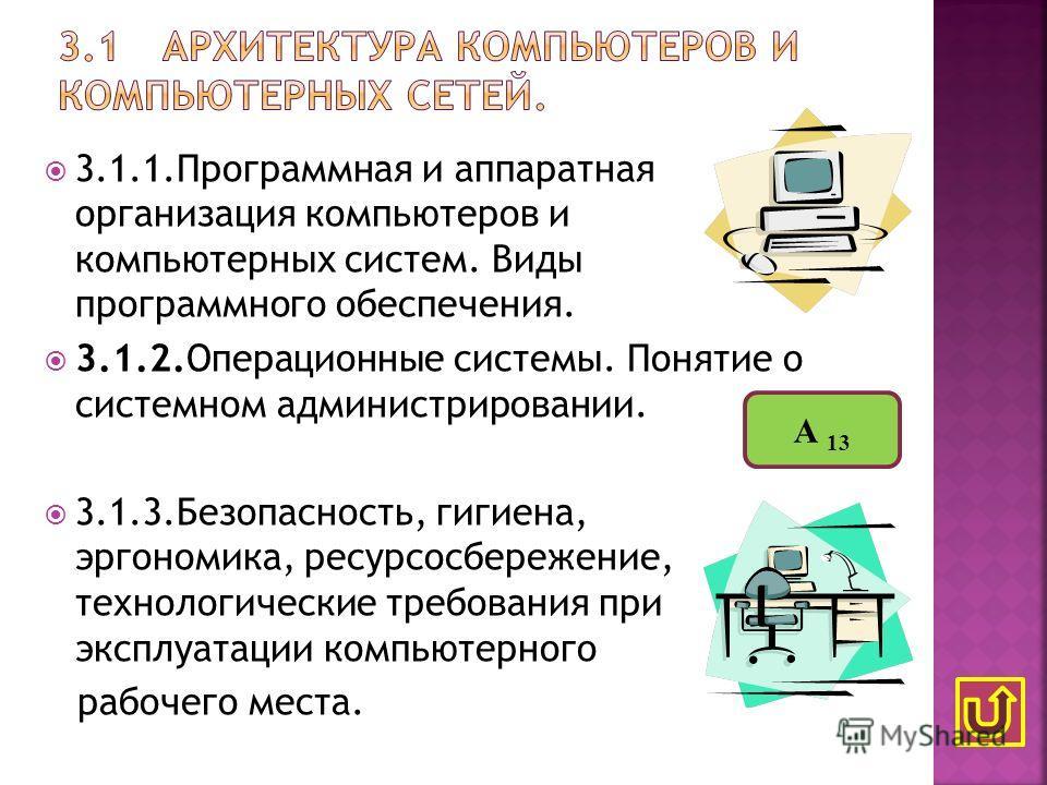 3.1.1.Программная и аппаратная организация компьютеров и компьютерных систем. Виды программного обеспечения. 3.1.2.Операционные системы. Понятие о системном администрировании. 3.1.3.Безопасность, гигиена, эргономика, ресурсосбережение, технологически