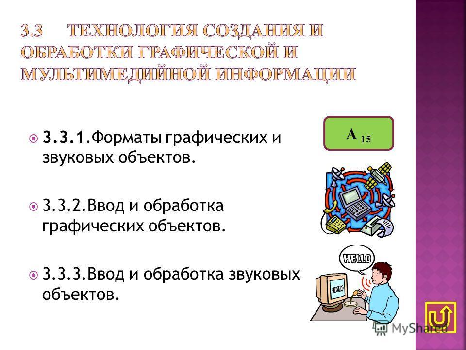 3.3.1.Форматы графических и звуковых объектов. 3.3.2.Ввод и обработка графических объектов. 3.3.3.Ввод и обработка звуковых объектов. А 15