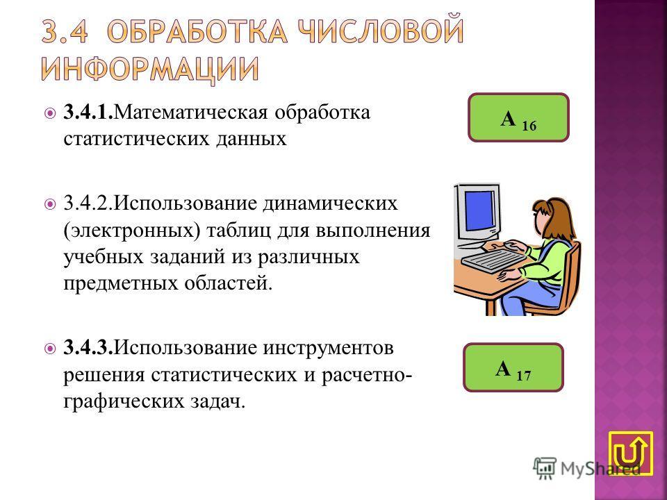 3.4.1.Математическая обработка статистических данных 3.4.2.Использование динамических (электронных) таблиц для выполнения учебных заданий из различных предметных областей. 3.4.3.Использование инструментов решения статистических и расчетно- графически