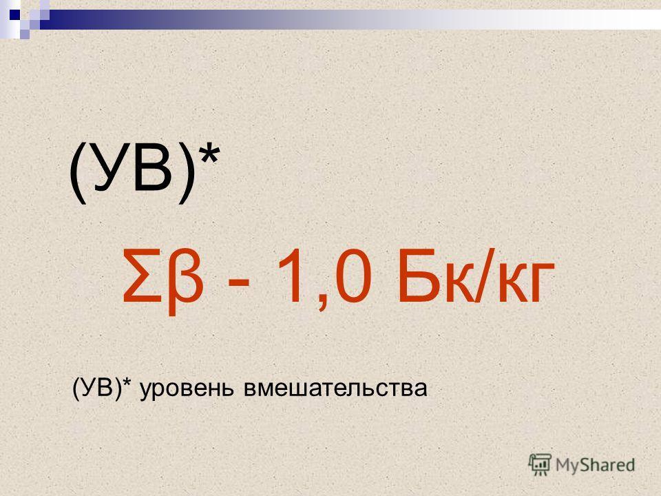 Σβ - 1,0 Бк/кг (УВ)* (УВ)* уровень вмешательства