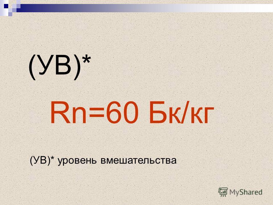 Rn=60 Бк/кг (УВ)* (УВ)* уровень вмешательства